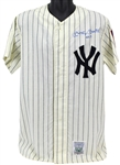 "Mickey Mantle Signed Mitchell & Ness Vintage Style NY Yankees Jersey with ""No. 7"" Inscription (BAS/Beckett)"
