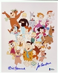 "Hanna-Barbera: Bill Hanna & Joe Barbera Dual Signed 8"" x 10"" Photo with Their Characters! (Beckett/BAS)"