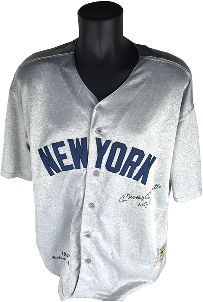 Mickey Mantle Signed Mitchell & Ness Vintage Style NY Yankees Jersey (Beckett/BAS)