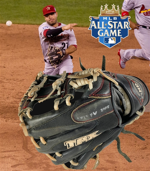 2012 Jose Altuve PHOTO MATCHED Game Used & Signed Fielding Glove :: Used in 2012 All-Star Game & More! (Beckett/BAS Autograph COA & PSA/DNA G/U Guaranteed)