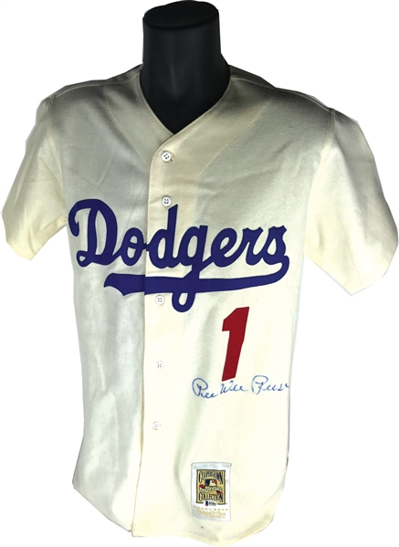 Pee Wee Reese Rare Signed Mitchell & Ness Dodgers Jersey (Beckett/BAS)