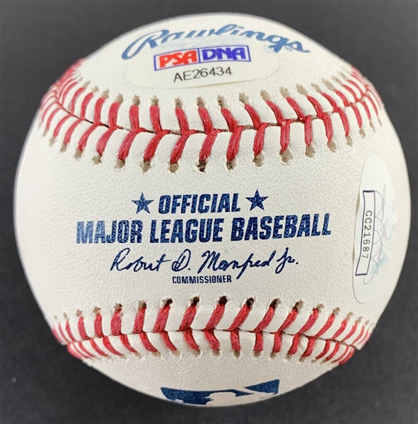 Chipper Jones Signed OML Baseball with RARE Full Larry Wayne Jones Jr. Autograph (PSA/DNA & JSA)