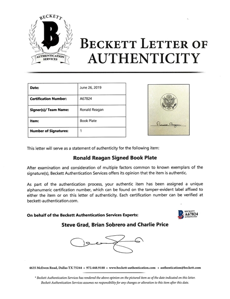 Ronald Reagan Signed An American Life Hardcover Book (Beckett/BAS)
