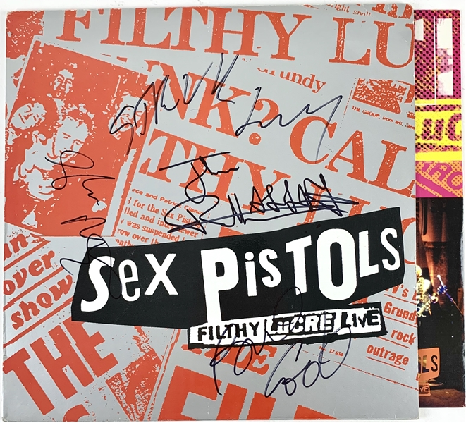 The Sex Pistols Group Signed Filthy Lucre Live Record Album (4 Sigs)(Epperson/REAL)