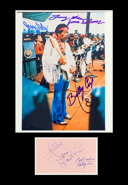 Jimi Hendrix & The Band of Gypsys Signed Matted Display with Cut & Photo (Beckett/BAS)