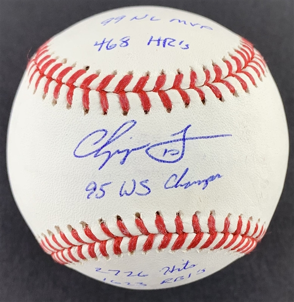 Chipper Jones Single Signed OML Baseball with 5 Handwritten Career Stats! (JSA)