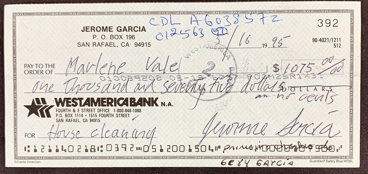 Jerry Garcia Handwritten & Signed Personal Check with Rare Jerome Garcia Signature (Beckett/BAS)