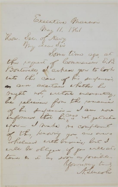 President Abraham Lincoln Signed & Handwritten Civil War Dated 1861 Letter (PSA/DNA)