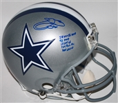 Emmitt Smith Signed Full Sized PROLINE Dallas Cowboys Helmet w/ 5 Career Stat Inscriptions! (BAS/Beckett)