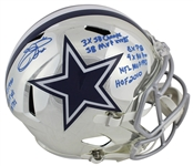 Emmitt Smith Signed Full-Sized Chrome  Style Dallas Cowboys Helmet w/ 9 Career Stat Inscriptions! (BAS/Beckett)