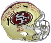 Jerry Rice Impressive Signed 49ers Full Sized Chrome Helmet w/ 8 Handwritten Career Stats! (Beckett/BAS)