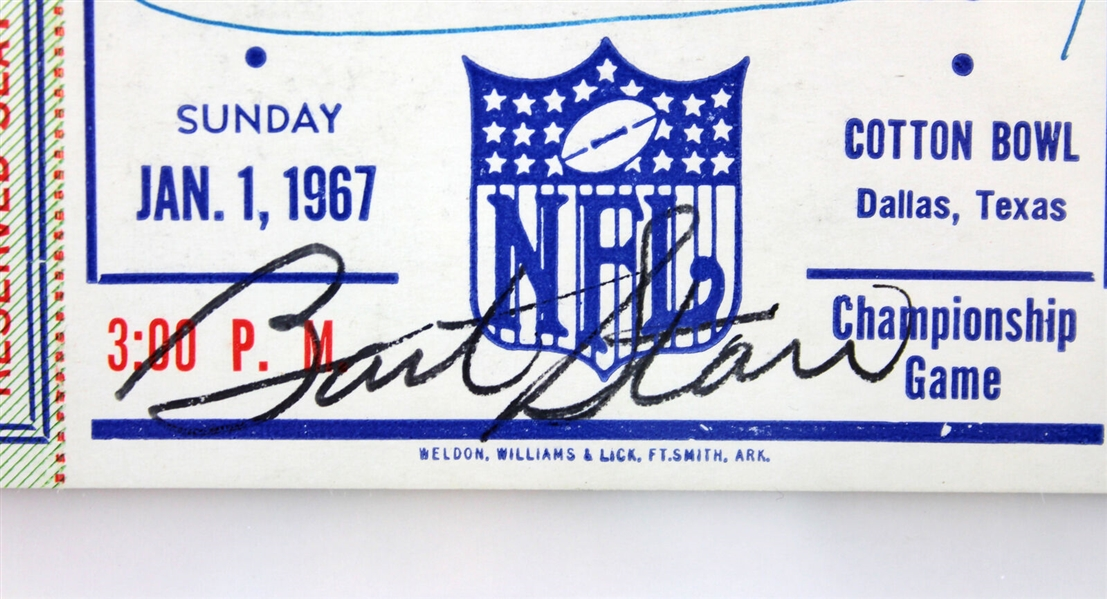 Bart Starr Signed 1967 NFL Championship Ticket vs. Dallas Cowboys (PSA Graded VG-EX 4)