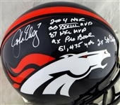 John Elway Signed Denver Broncos Full Size PROLINE Helmet with 6 Handwritten Career Stats! (JSA)