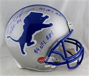 Barry Sanders Signed Detroit Lions Full Sized PROLINE Model Helmet with 3 Stat Inscriptions (Beckett/BAS)