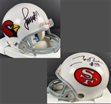 WR GOATS: Jerry Rice & Larry Fitzgerald One-of-a-Kind Signed Custom Cardinals/49ers Dual Mini Helmet (Beckett/BAS)