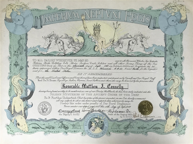 President Harry S. Truman Rare Signed 1947 Shellback Navy Document (Beckett/BAS)