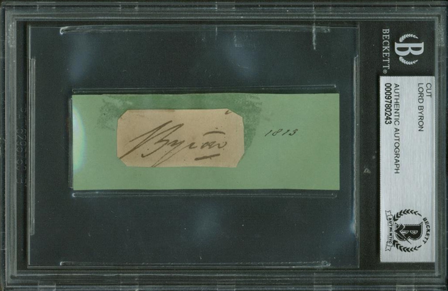 Lord Byron Signed 1.5 x 2.5 Album Page (Beckett/BAS Encapsulated)