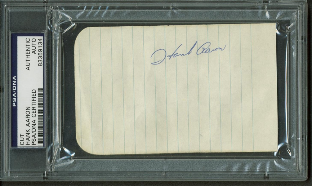 Hank Aaron Vintage Signed 3 x 5 Album Page (PSA/DNA Encapsulated)