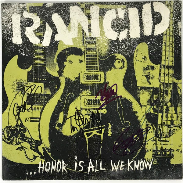 Rancid Group Signed Honor is All We Know Record Album Cover (Beckett/BAS Guaranteed)