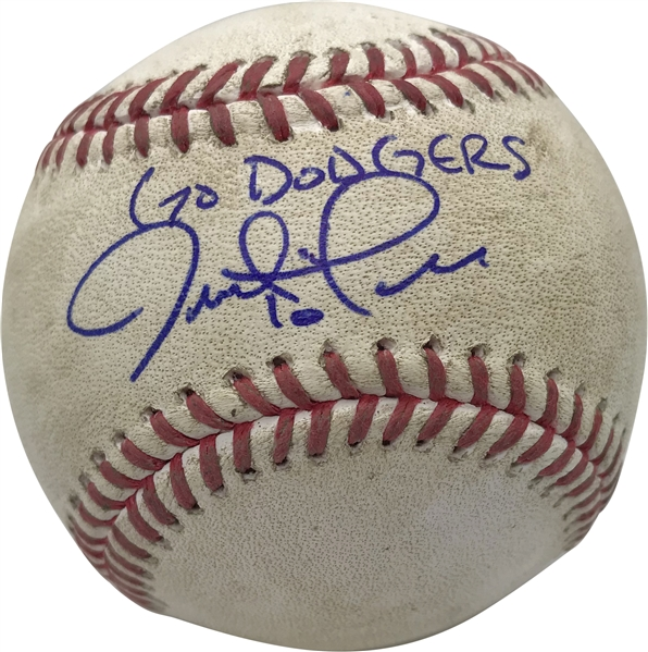 Justin Turner Signed & Sep 26, 2017  Game Used OML Baseball Hit by Turner! (PSA/DNA & MLB)