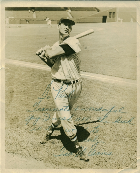 Ted Williams Vintage c. 1940's Signed 8 x 10 Photograph to Teammate Paul Campbell! (Beckett/BAS)