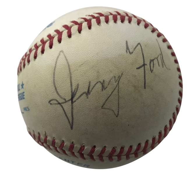 Republican Presidents: Richard Nixon, Gerald Ford & George H.W. Bush Signed OAL Baseball (JSA)