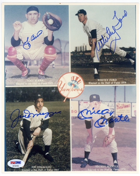Yankees Hall of Famers Multi-Signed 8 x 10 Photograph w/ Berra, Ford, DiMaggio & Mantle (PSA/DNA)