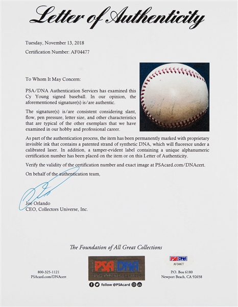 Cy Young Vintage Single Signed Baseball (PSA/DNA)