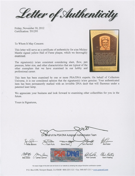 Mickey Mantle Near-Mint Signed Hall of Fame Yellow Plaque Card (PSA/DNA)