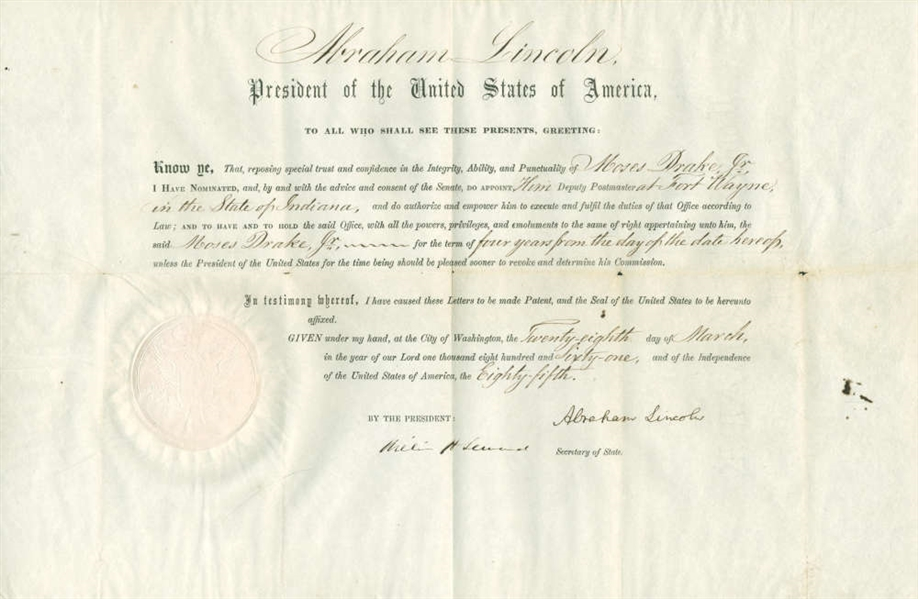 President Abraham Lincoln Signed 1861 Postmaster Appointment Document (BAS/Beckett Graded MINT 9)