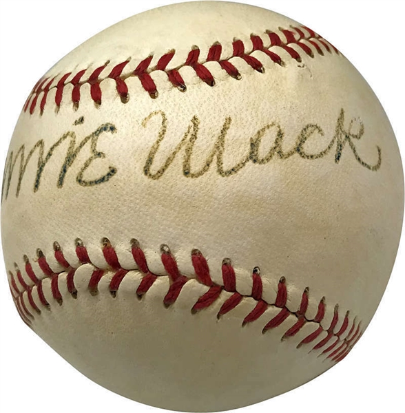 Connie Mack Rare Single-Signed Reach Baseball (PSA/DNA)