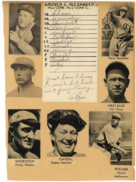 Grover Cleveland Alexander Rare Handwritten & Signed All-Time All-Stars Card (PSA/DNA)