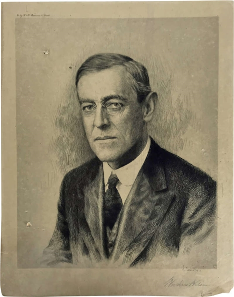 Woodrow Wilson Signed 12 x 17 Presidential Portrait Photograph (Beckett/BAS)