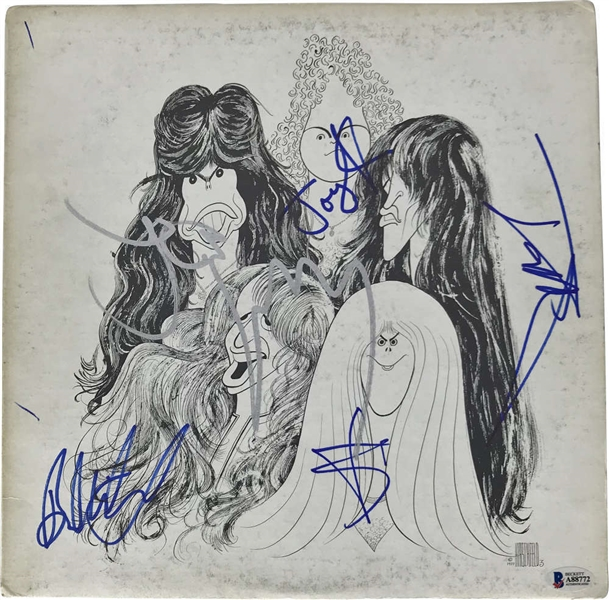Aerosmith Group Signed Draw the Line Record Album Cover (5 Sigs)(Beckett/BAS)