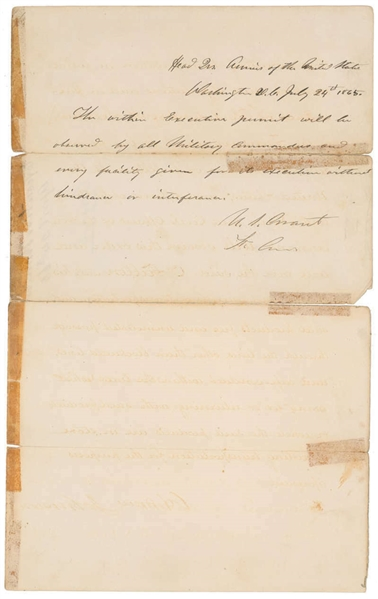INCREDIBLE Pres. Andrew Johnson Signed Civil War-Dated Document w/ Letter of Approval Signed by Gen. Ulysses S. Grant - Dated 10 Days After Lincoln's Assassination (Beckett/BAS)