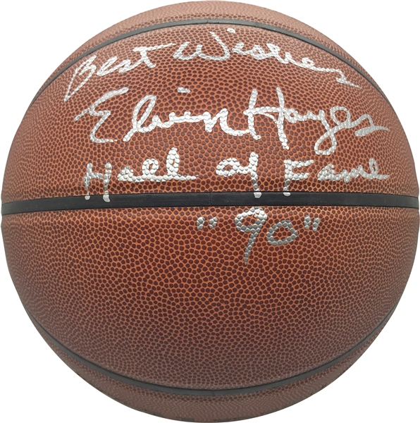 Elvin Hayes & Rick Barry Lot of Two (2) Signed & HOF Inscribed Basketballs (JSA)