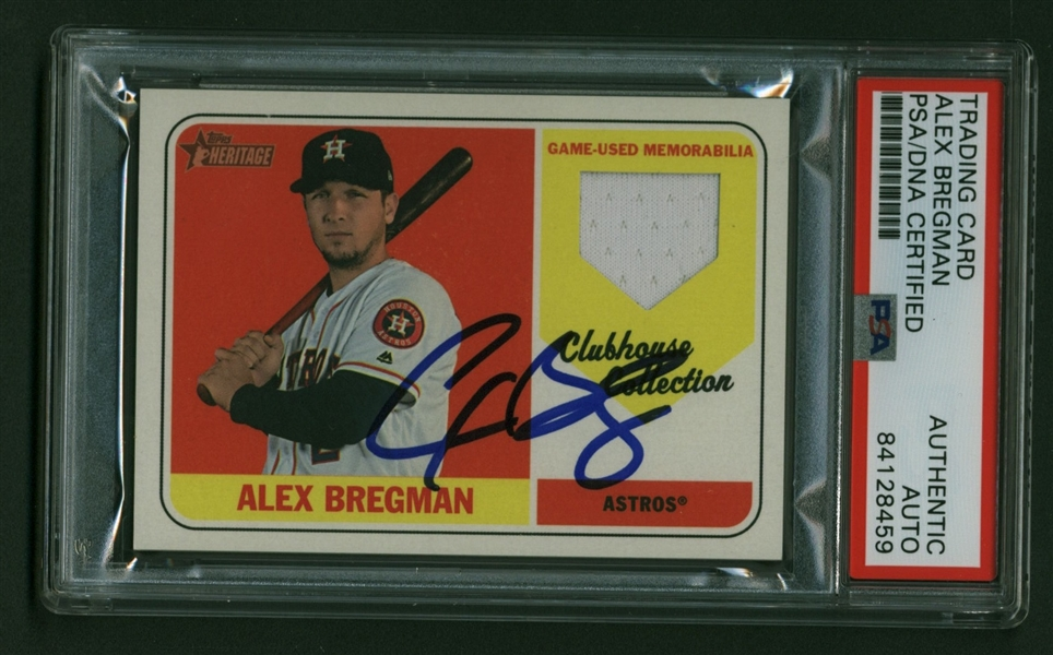 Third Base Stars: Nolan Arenado, Alex Bregman & Kris Bryant Lot of Three (3) Signed 2018 Topps Heritage Clubhouse Collection Baseball Cards (PSA/DNA)