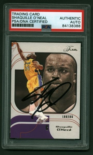 Shaquille O'Neal Signed 2002-03 Flair #65 Basketball Card (PSA/DNA)