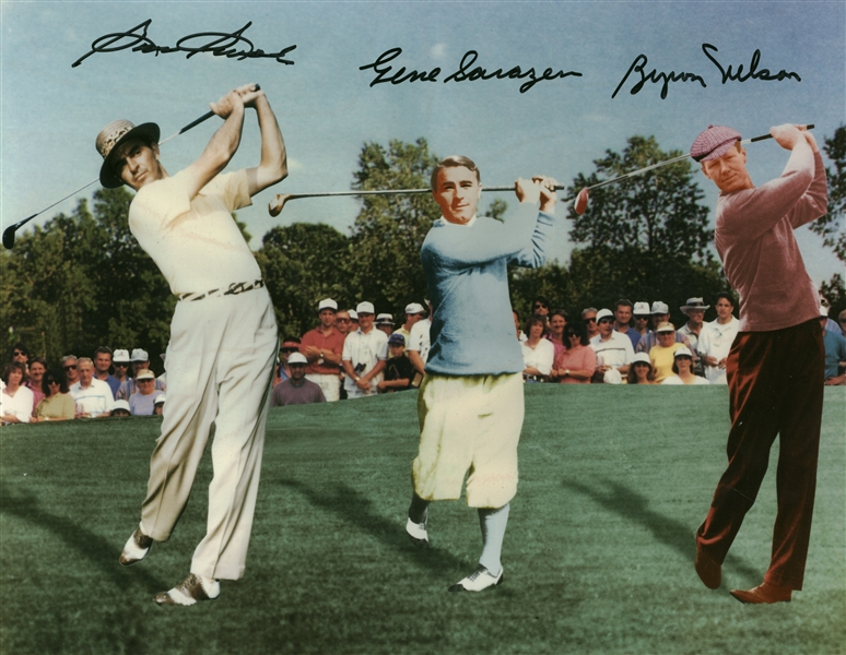 Sam Snead, Byron Nelson, and Gene Sarazen Signed 11 x 14 Photograph (Beckett/BAS)