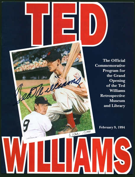 Ted Williams Signed 8.5 x 11 Museme Program (Beckett/BAS)