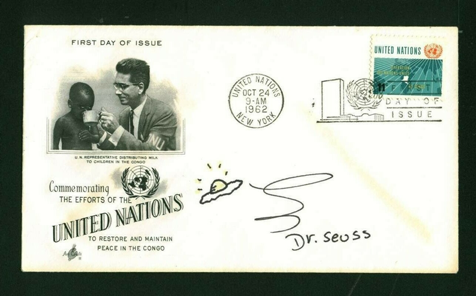 Dr. Seuss Signed First Day Cover w/ Hand-Drawn Green Eggs & Ham Sketch! (Beckett/BAS)