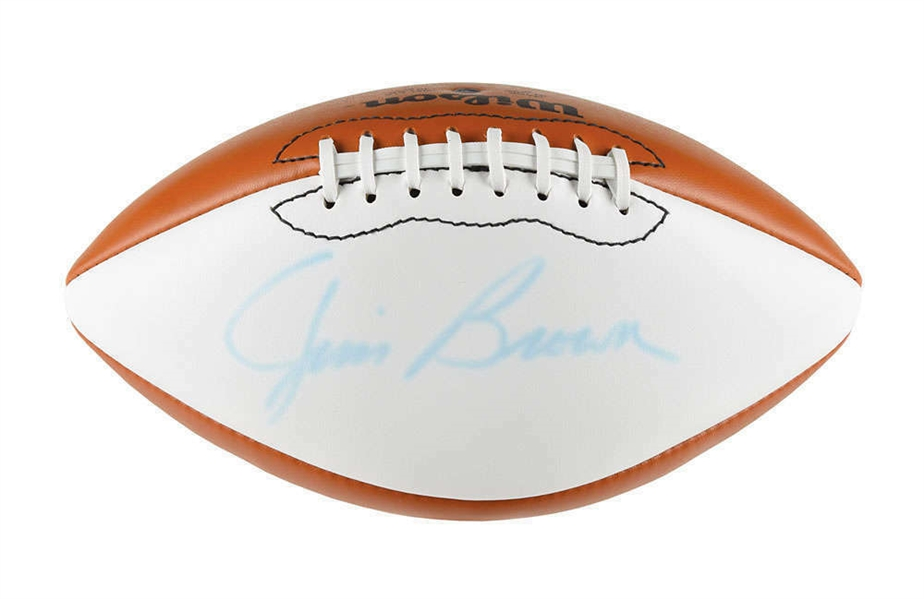Jim Brown Signed White Panel NFL Football (Becket/BAS)