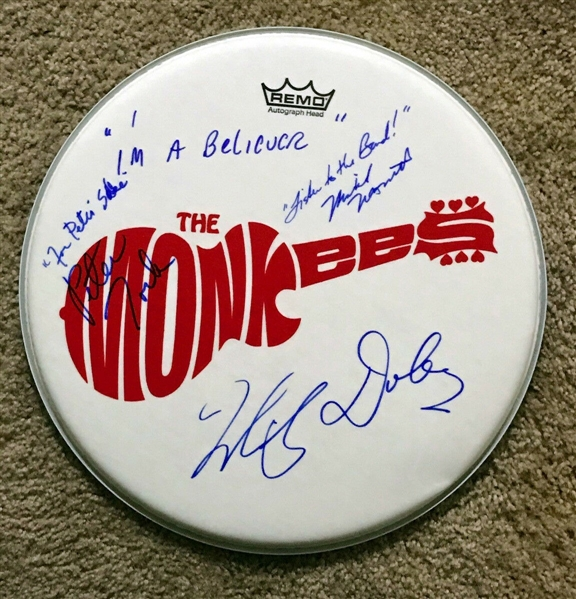 The Monkees Group Signed & Multi Inscribed Drumhead with Custom Band Decal (BAS/Beckett)