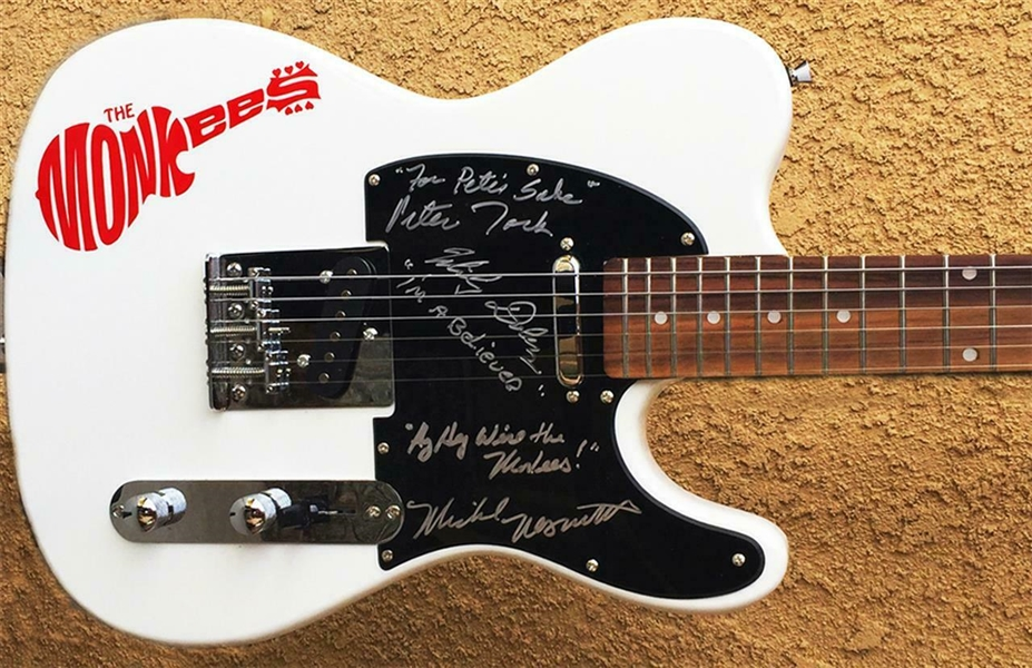 The Monkees Rare Group Signed Telecaster Style Guitar (3 Sigs)(Beckett/BAS)