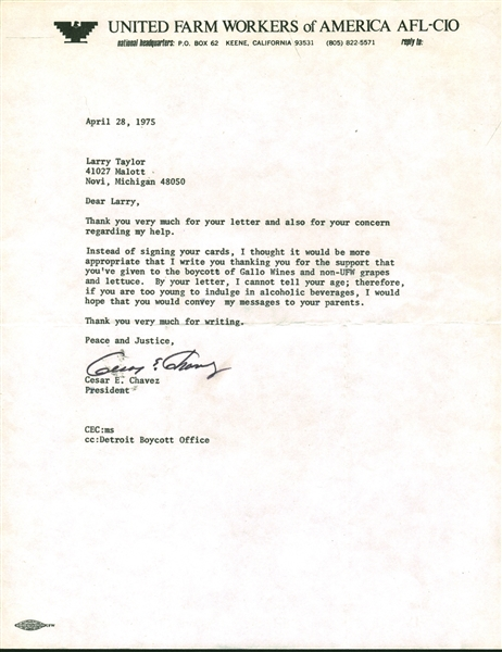 Cesar Chavez Signed 8.5 x 11Typed 1975 Letter (Beckett/BAS)