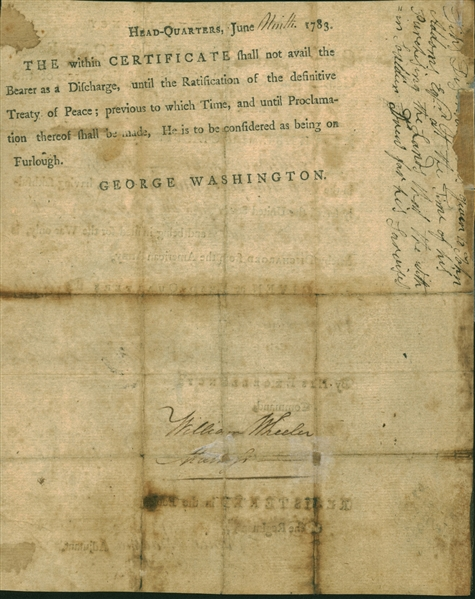 George Washington Signed 8 x 10 Military Discharge Document (Beckett/BAS)