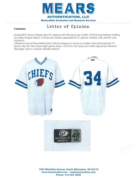 Bryce Harper Rare 2012 Syracuse Chiefs Minor League Game Used Jersey (MEARS Graded A-10)