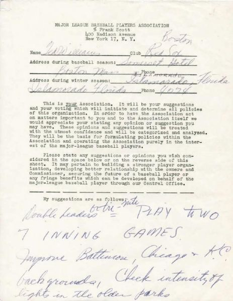 Ted Williams Signed MLBPA Members Survey with Handwritten Suggestions for Making the Game Better! (PSA/DNA)