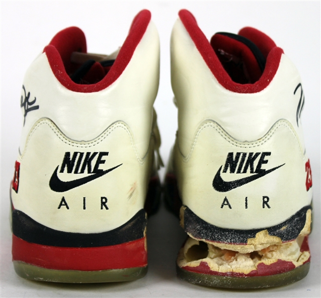 1990 Michael Jordan Game Used & Dual Signed Nike Air Jordan V Sneakers (Beckett/BAS & Mastronet COAs)