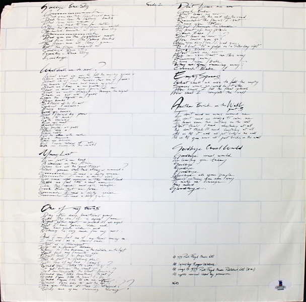 Pink Floyd: David Gilmour & Roger Waters Rare Dual Signed Album Sleeve Insert - The Wall (BAS/Beckett & Floyd Authentic LOAs)